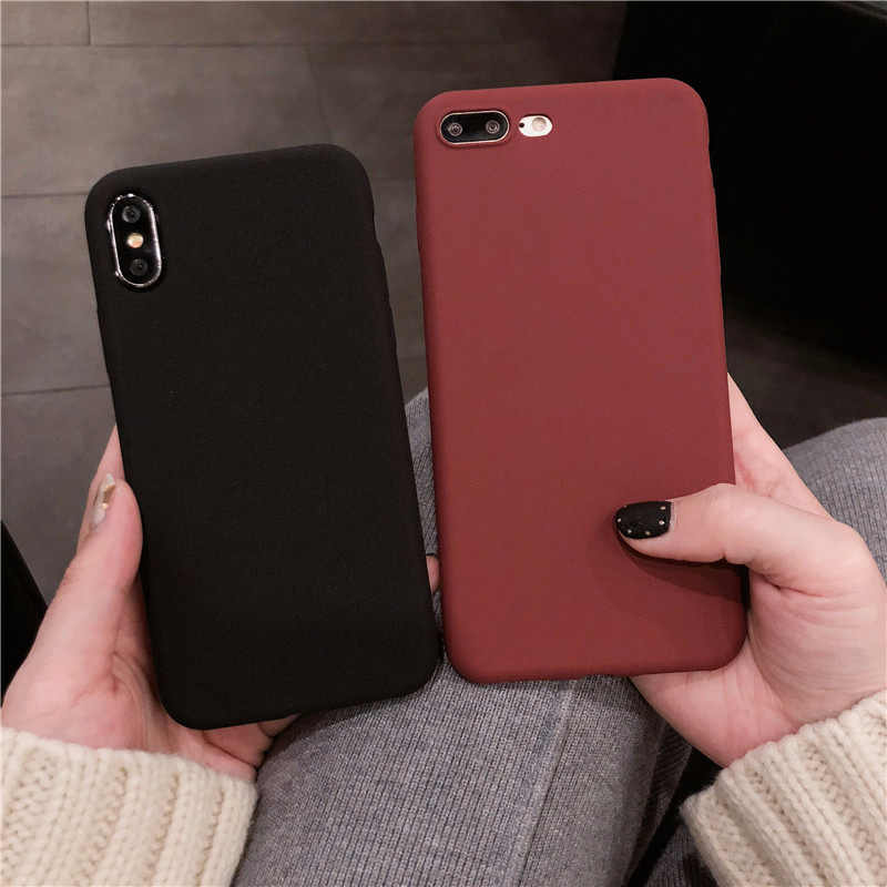 Funda de Color liso para iPhone 11 XR 8, Funda de silicona suave para iPhone 6s 6 7 8 Plus X XR XS 11 PRO MAX, fundas a prueba de golpes