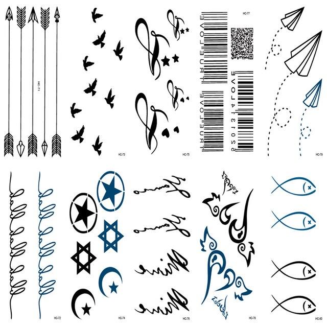 10 Unids Tatuaje Manga Flechas Características Mejores Amigos Negro