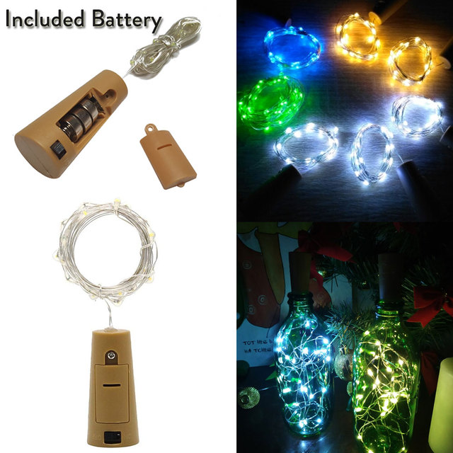 Included Battery 1M 2M 3M 10 20 30 LED Cork Shaped LED String Garland Wire Fairy Lights for Craft Bottle Christmas Valentines