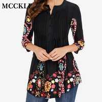 Printemps tunique imprimé femmes chemise Blouse 3/4 manches plissées hauts et chemisiers femmes 2019 été mode chemises de grande taille 5XL