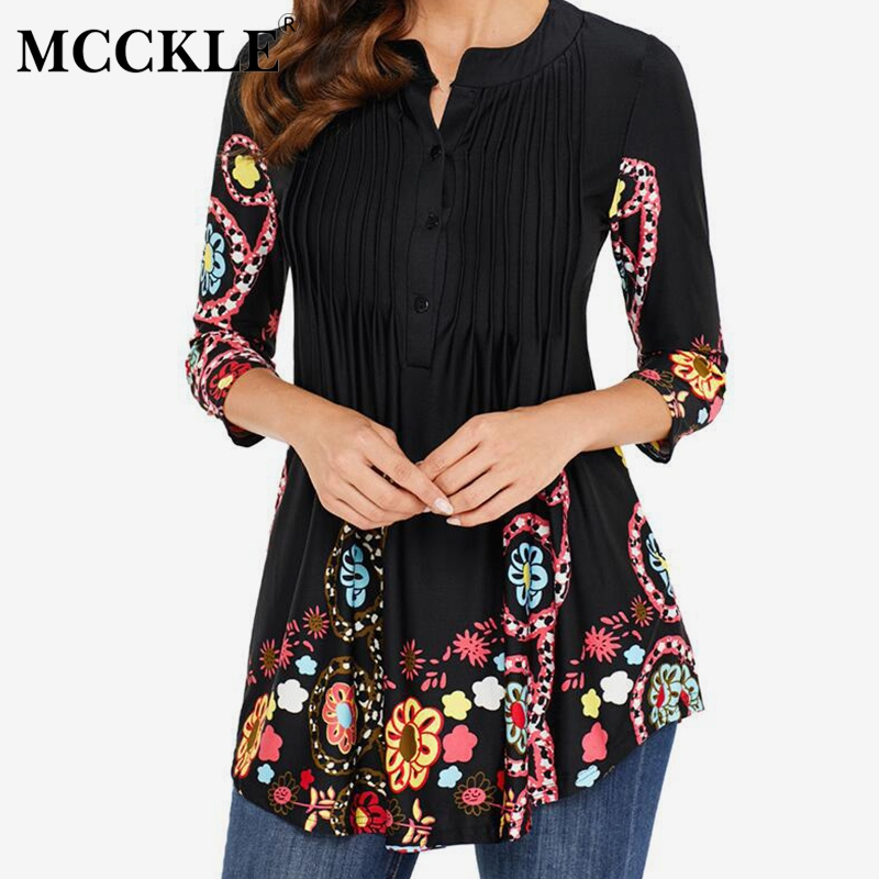 Spring Tunic Printed Women's Shirt Blouse 3/4 Sleeves Pleated Tops And Blouses Womens 2019 Summer Fashion Shirts Plus Size 5XL