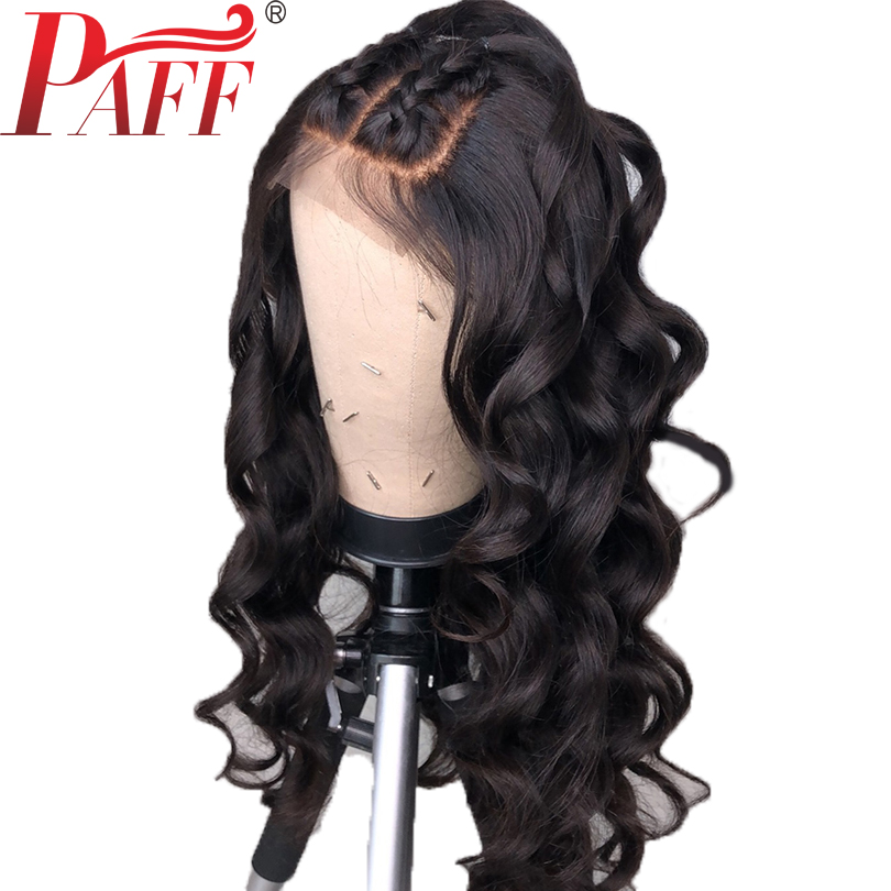 PAFF Water Wave 150 Density Lace Front Human Hair Wigs With Brazilian Remy Hair Pre Plucked
