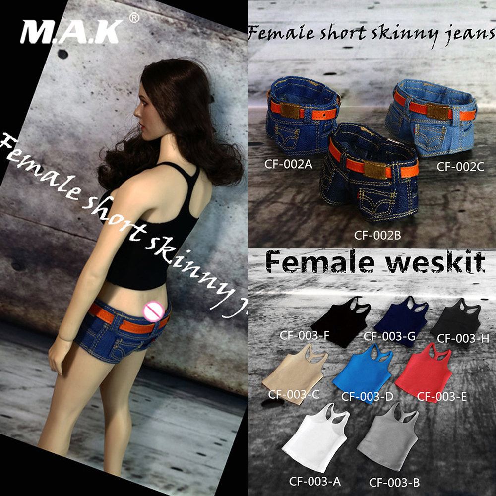 Action & Toy Figures Cool 1/6 Sexy Female Clothes Accessory Slim Stretch Sling Vest/low Waist Denim Shorts Model For 1:6 Figure Body
