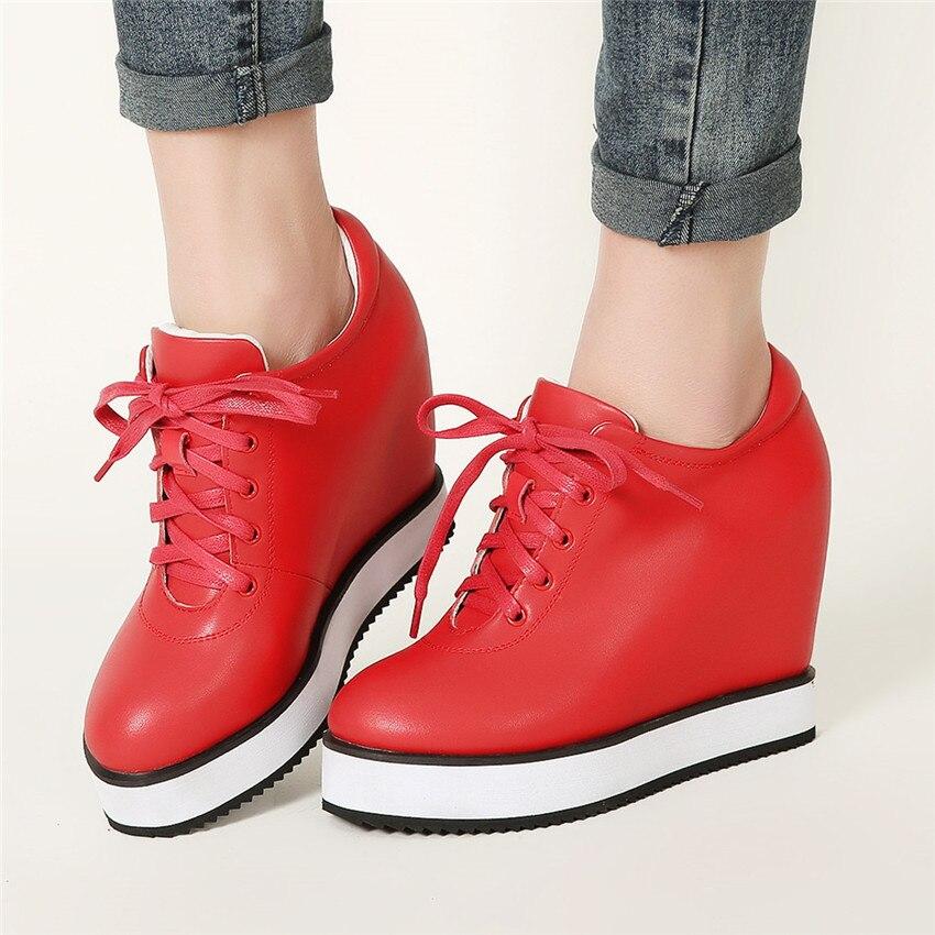 Chaussures Hauteur Plates 40 Wedge Marche Casual De 34 rouge Croissante Cuir Femmes Appartements Mocassins La Taille Cales Plus Noir blanc En Véritable qU4BBW