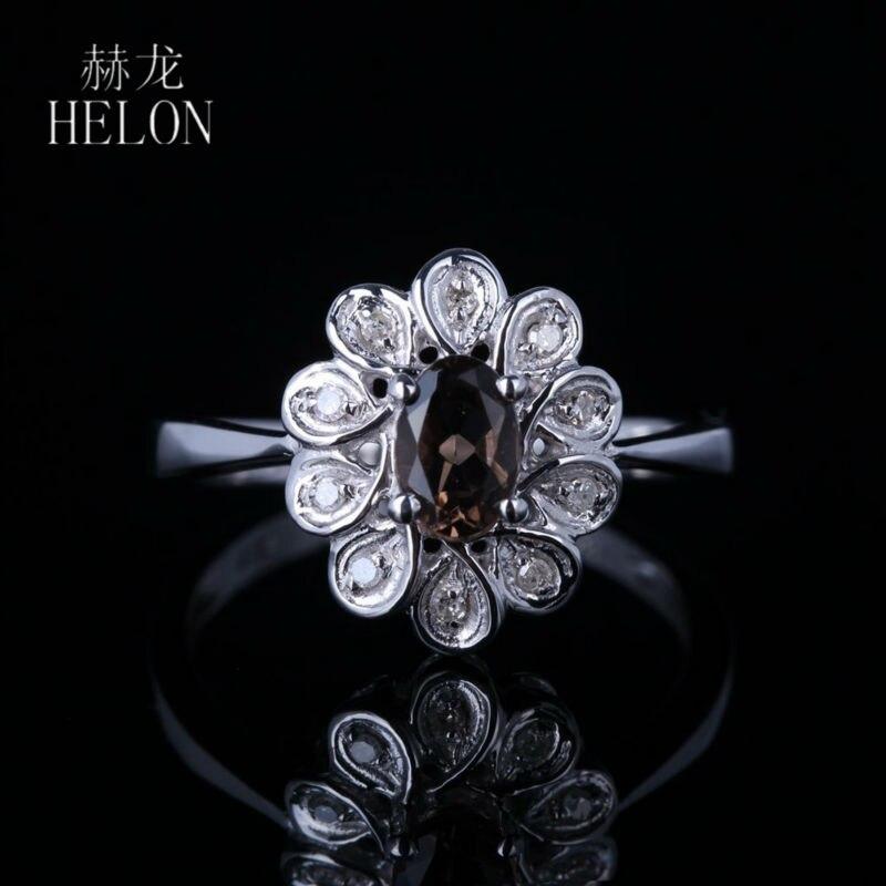 HELON Women Jewelry Solid 14K White Gold 6x4mm Oval Genuine Smokey Quartz Pave Natural Diamonds Engagement Wedding Flower Ring цена