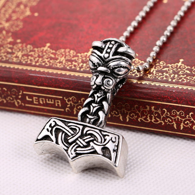 Greek Mythology Thor The Dark World Hammer Necklace Gothic Punk Vintage Vikings Pendant Accessories Jewelry for Gift