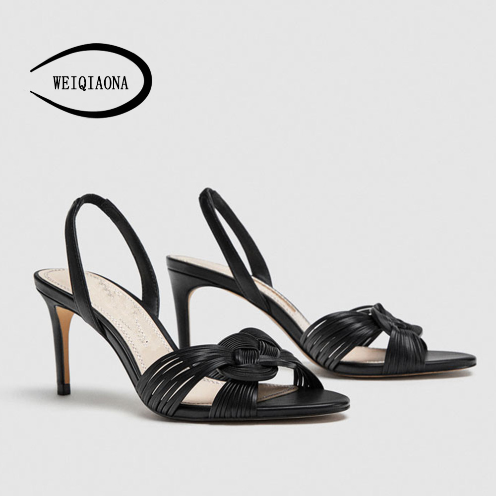 Casual Boucle Marque Dames Mode Weiqiaona 2018 De Parti Noir D'été Vintage Femmes Talons Chic Chaussures Sandales wpn80q4