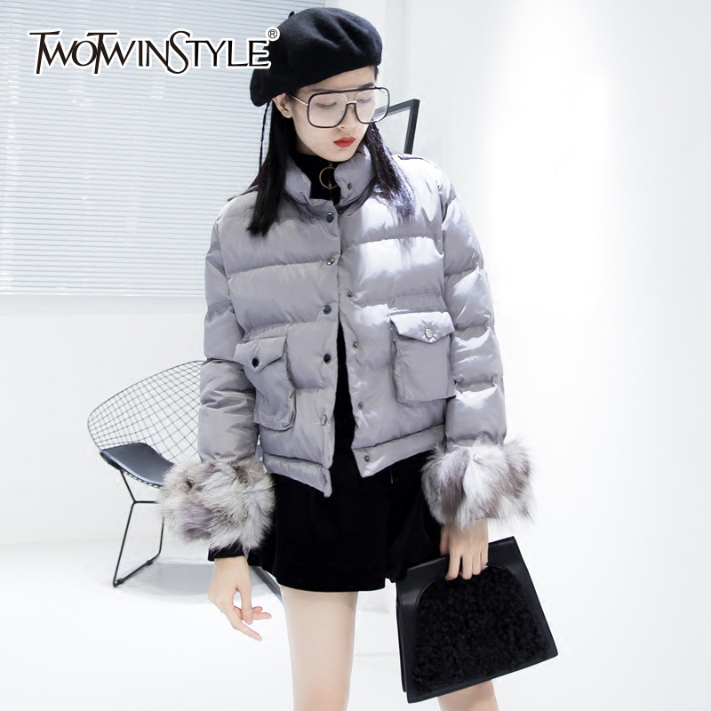 TWOTWINSTYLE Thick Warm Cotton Coats With Fur Cuff Women Winter Turtleneck Loose Tops Big Zize Pockets Female Jacket Casual Tide