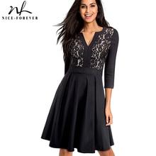 Хороший-навсегда Винтаж Твердые Черный цветок Кружево лоскутное элегантный vestidos 3/4 Sleeve A-Line Pinup Бизнес Для женщин расклешенное платье A056