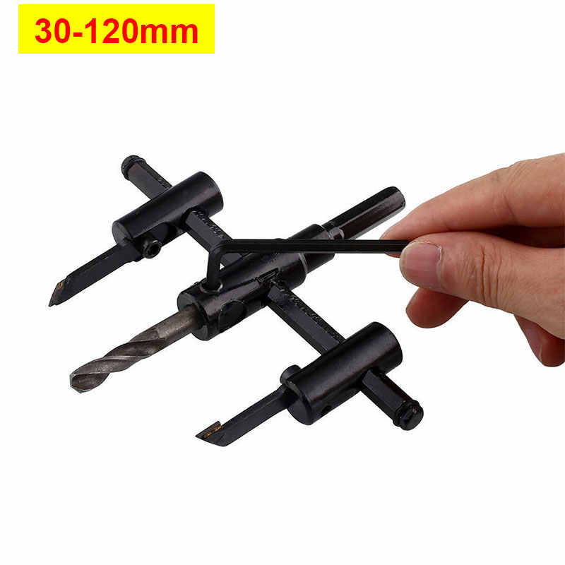 Adjustable Circle Hole Cutter Wood Plastic PVC Drill Bit Saw Round Cutting Blade