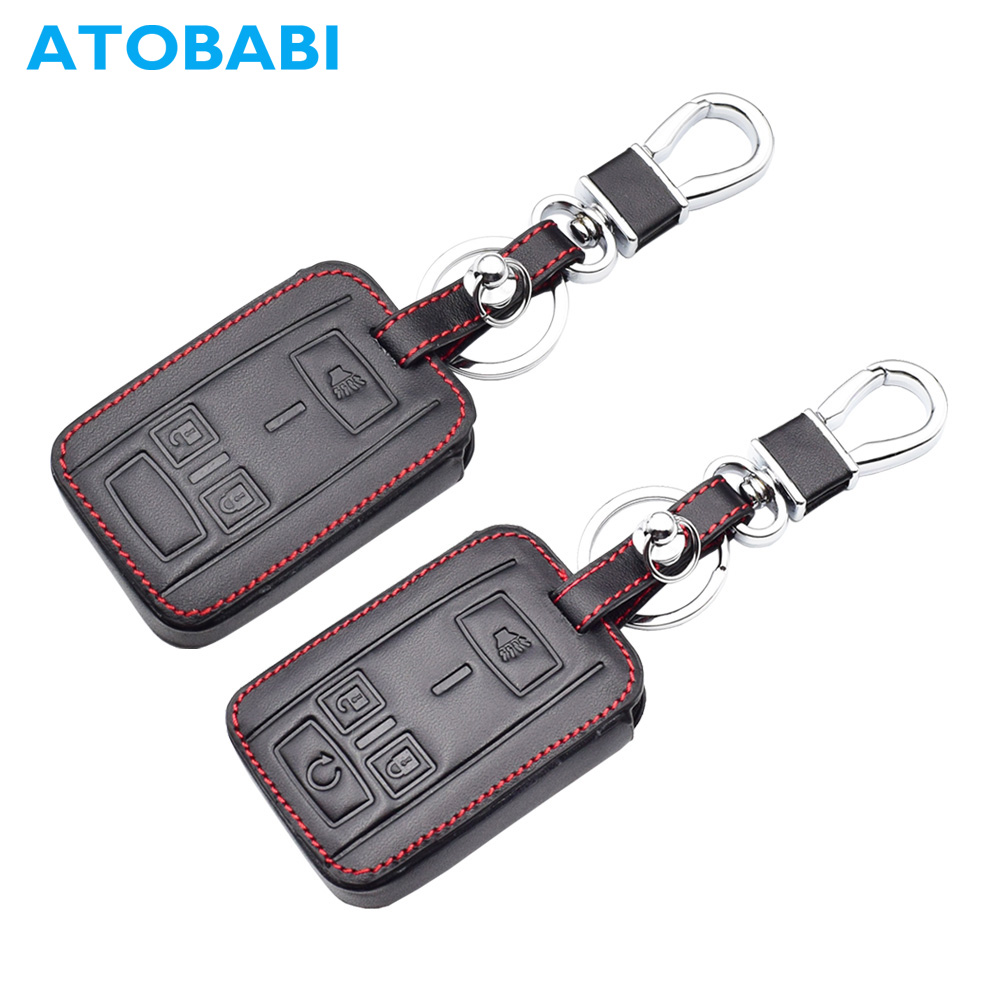 ATOBABI Genuine Leather Car Key Case Smart Remote Keychain Fob Shell Cover for 2015 2016 2017 GMC Sierra w/Canyon w Engine Start|Key Case for Car| |  - title=