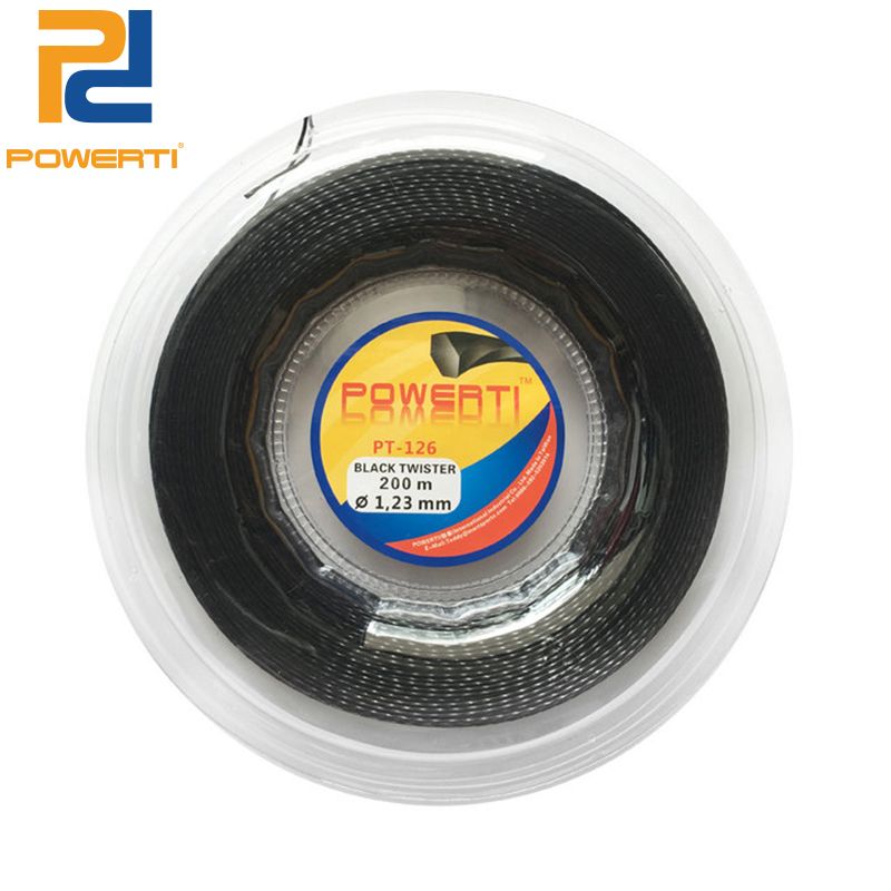 POWERTI Twister Twist 1.23mm Hexagon Polyester Tennis Racket String 200m Reel Durable Feeling Training String PT-126 powerti hexagonal polyester tennis string 200m reel string durable 1 25mm tennis racket tennis racquet tsb10