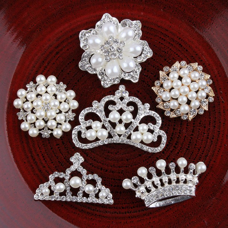 120PCS Vintage Handmade Metal Decorative Buttons+Crystal Pearls Craft Supplies Flatback Rhinestone Buttons for Hair Accessories
