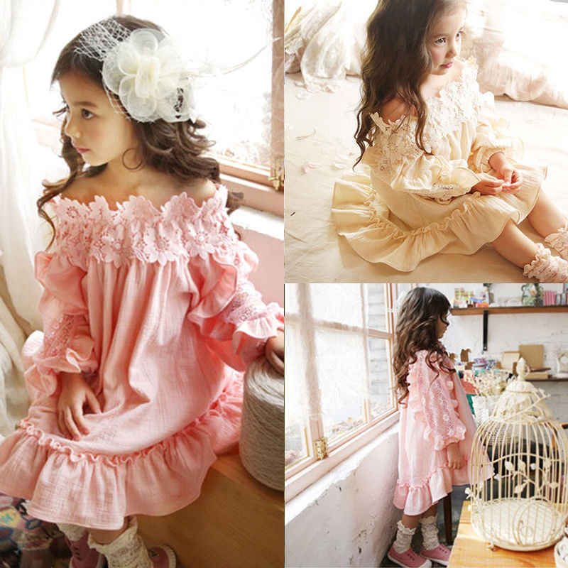PUDCOCO Princess Kid Baby Girl Dress Lace Floral Off Shoulder Party Gown Pop Street Show Dresses 2-7Y