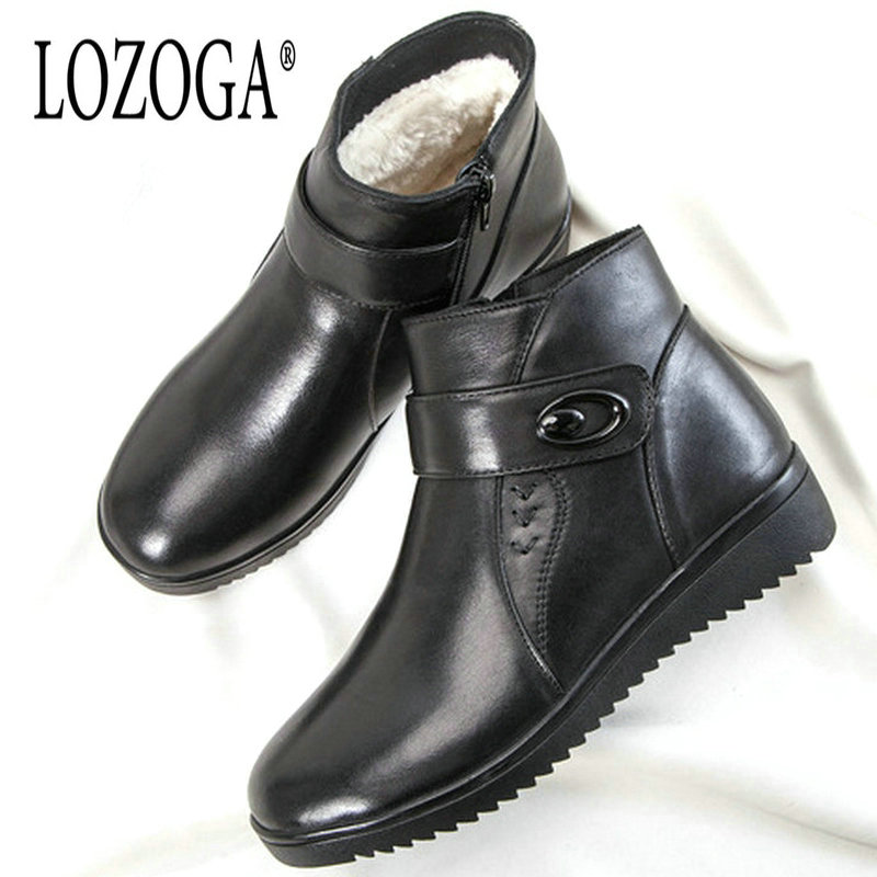Lozoga New Brand boots Women shoes Winter Boots 2018 Warm Winter Snow Boots Real Leather Shoes Woman Boots shoes size 35-40 minifocus leather strap mens watches top brand luxury sport watch men waterproof male clock men s quartz watch erkek kol saati