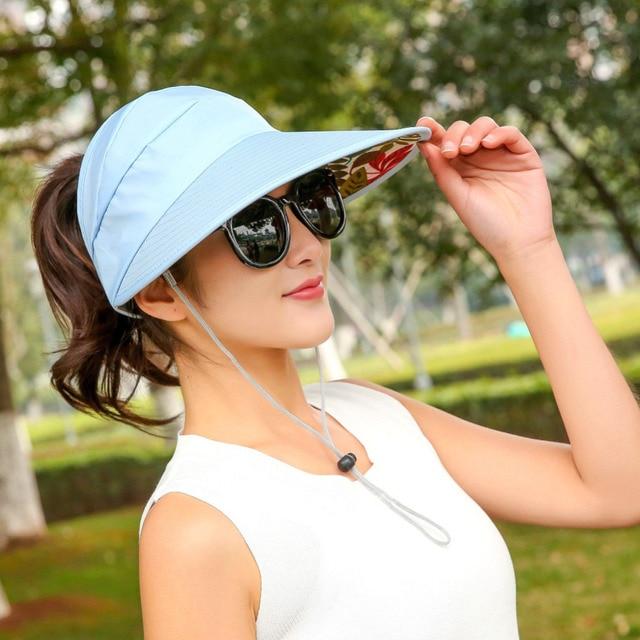 a62f5cd5d3c VBIGER Women Anti-UV Sun Hat Foldable Summer Beach Hat Wide Brim Visor  Ladies Sunproof