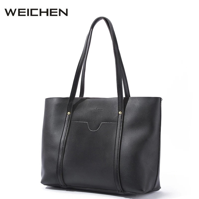 цены на Casual Tote Bag 2018 Fashion Black Ladies Brand Leather Handbags Tote Bag Big Shoulder Bags For Woman Bolsa Feminina Grande в интернет-магазинах