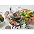 Bonito casa de Bonecas Em Miniatura de Plástico Jogar Comida Picante Chinês Fondue Hotpot Re-mento Da Cozinha Brinquedos para Presentes das Crianças