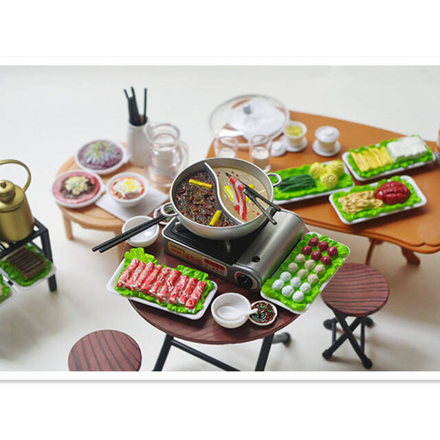 Cute Miniature Dollhouse Plastic Play Food Spicy Chinese Fondue Hotpot Re-ment Kitchen Toys for Children's Gifts