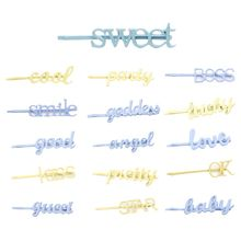 Minimalist Sweet Macaron Color Baking Paint Hairpin Women Girl Metal Alloy Handwriting Baby Letters Side Bangs Styling Hair Clip