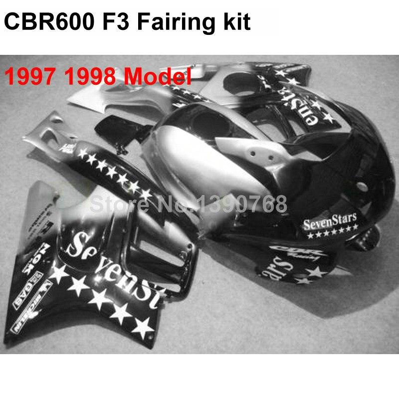 Carénage en plastique ABS pour Honda blanc étoile argent noir CBR600 F3 1997 1998 kit carénages CBR600 F3 IN62