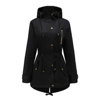 Autumn thin Gothic Black Casual Plus Size Women Jacket coat Slim Plain Patchwork Button Pocket Girl OL Female Overcoat