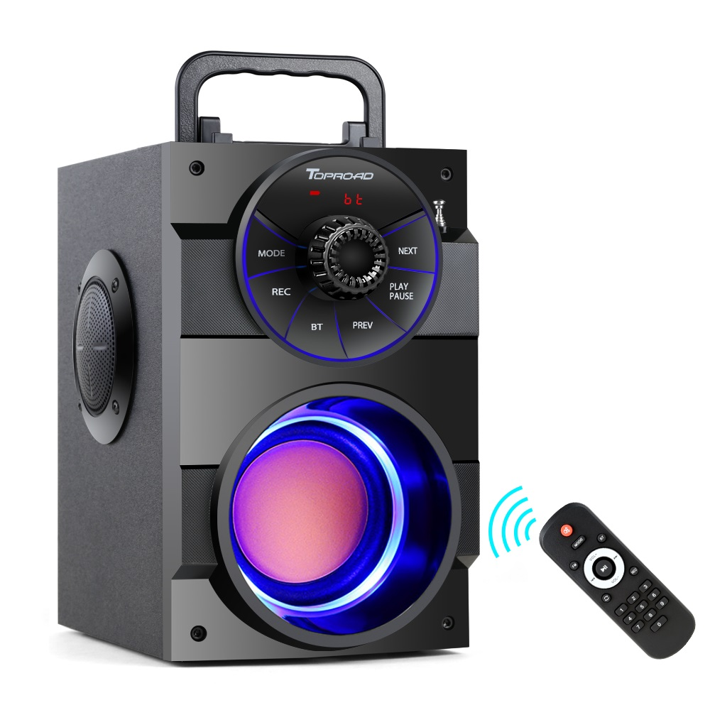 TOPROAD Bluetooth Speaker Portable Wireless Stereo Subwoofer Bass Big Speakers Column Support FM Radio TF AUX USB Remote Control 90 corner clamp shopify