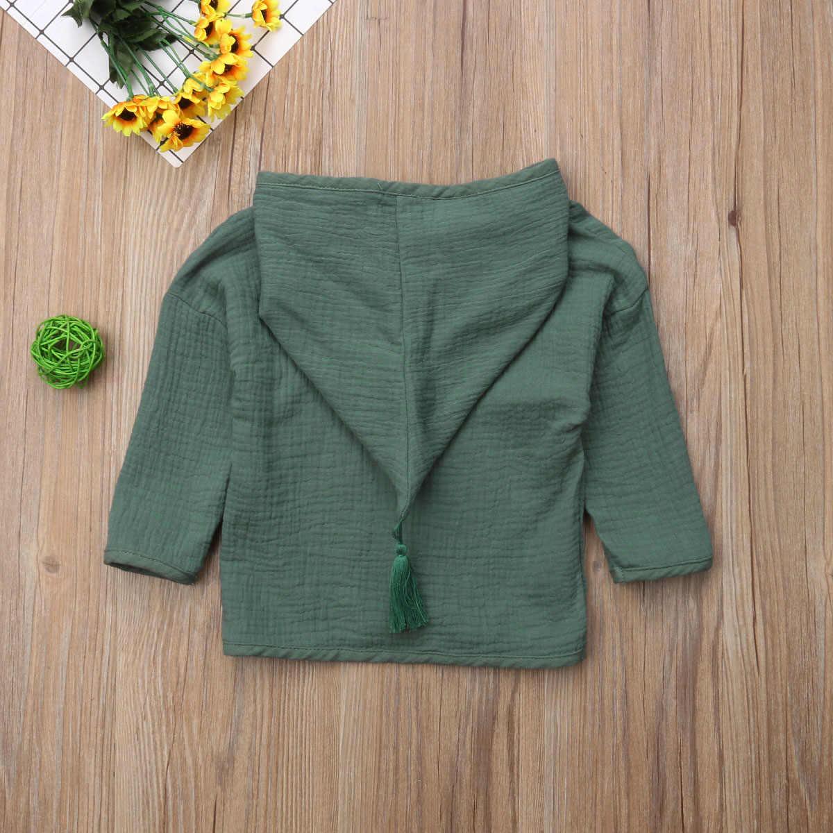 2018 nuevo Otoño Invierno moda Causal niños bebés niñas chaqueta sólida abrigo con capucha de lino con capucha conjunto de abrigos de algodón 1-6Y