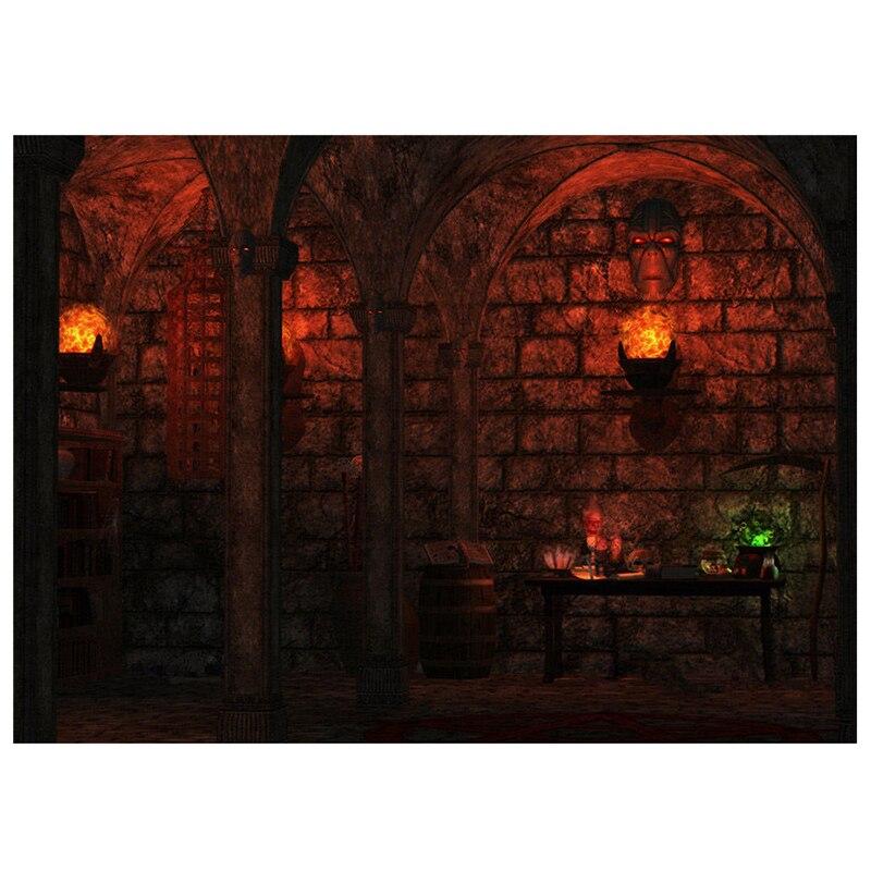 7x5FT Fear Castle Backdrop Background Photo Halloween Vinyl Photography