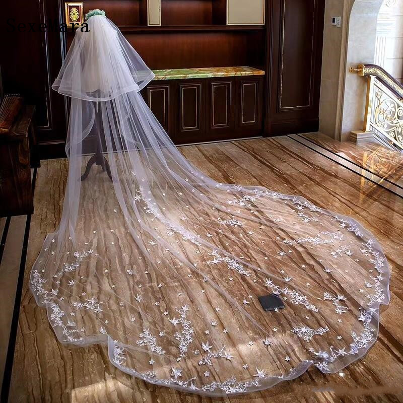 Luxury 2 Tiers White Ivory Bridal Veils 3 M Cathedral Length Lace Appliqued Edge Bridal Wedding Veils With Blusher With Comb