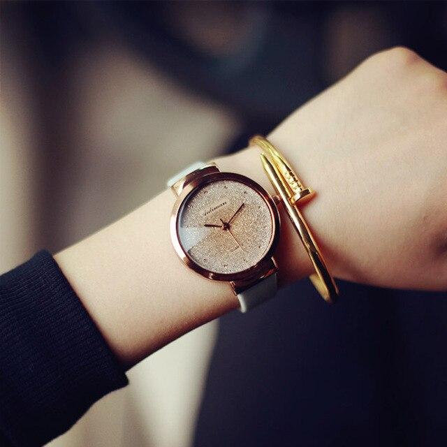 2018 moda tendencia minimalista Rosa oro Bling reloj blanco rosa cuero  casual reloj de cuarzo para b9e67fdc1642