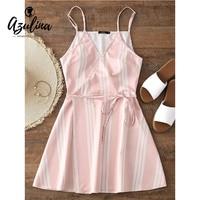 AZULINA Stripes Wrap Slip Mini Dress Girls Women Dress Robe Femme Sweet Casual Cotton Short Dresses