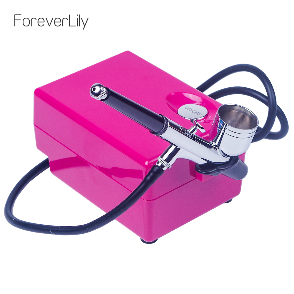 Gravity Feed Airbrush Makeup Kit With Mini Air Compressor Temporary Cake Tattoo Face Body Paint Nail Art Spray Gun Air Brush Set