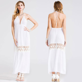 448e91cfe Sexy hombro backless vestido mujeres verano Boho Encaje vestido Maxi blanco  bohemio playa Vestidos sundress moda Praia