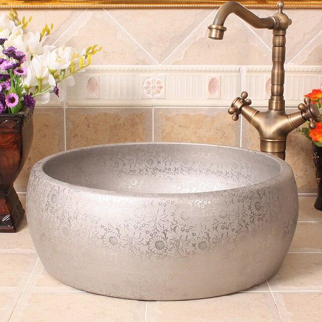 US $239.0 |China Künstlerische Handarbeit Taille trommel silber  chrysantheme Keramik waschbecken Runde gegenober moderne badezimmer keramik  ...