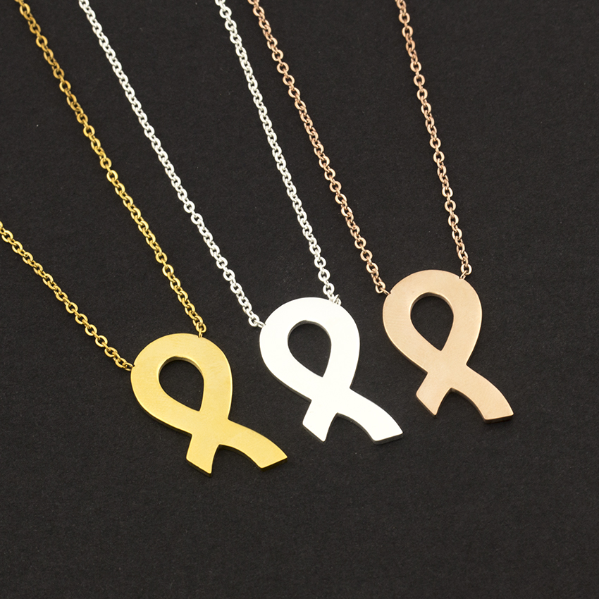 Wholesale 10pcs Collier Collares New Breast Cancer Awareness Pink Ribbon Necklace Best Fri