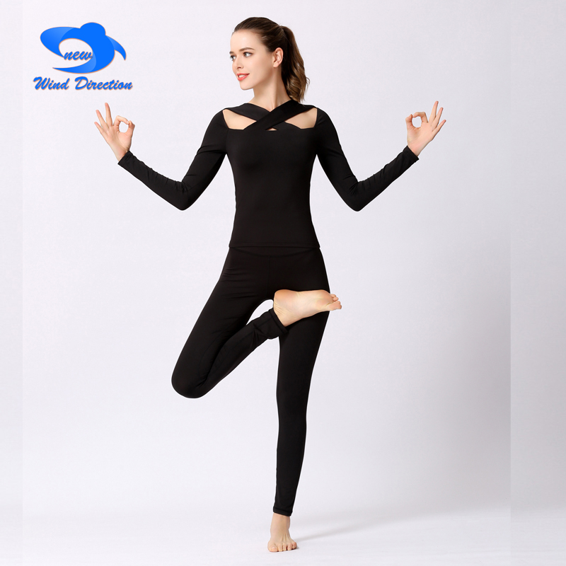Black Yoga suit one piece Womens sexy cross long Yoga sleeves High elastic Sports fitness Pants