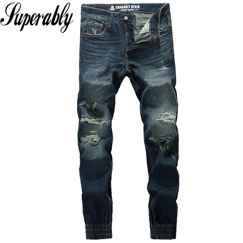 ФОТО High Quality Fashion Denim Men Jogger Jeans Pants Superably Brand Dark Blue Stripe Jeans Men Destroyed Ripped Jeans Size 30-40