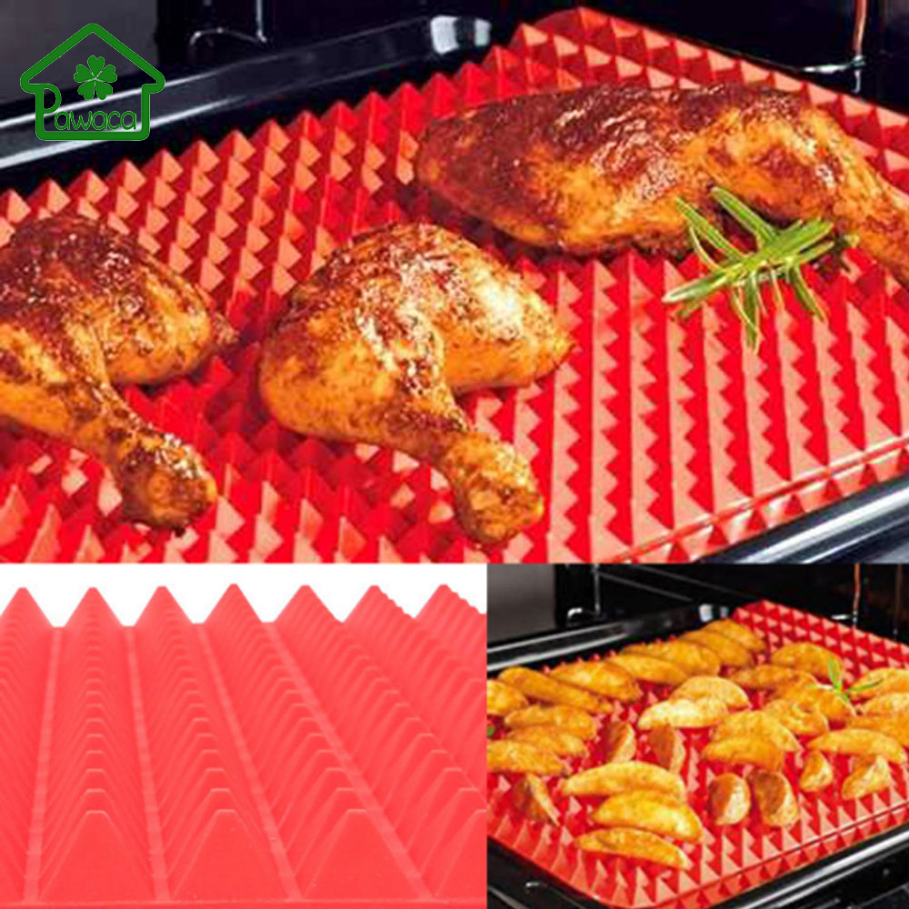 2017 Red Pyramid Nonstick Bakeware Pan Silicone Barbecue Grill Mat Pads Cooking Mat Oven Baking Tray Sheet Kitchen Tools 40x29cm