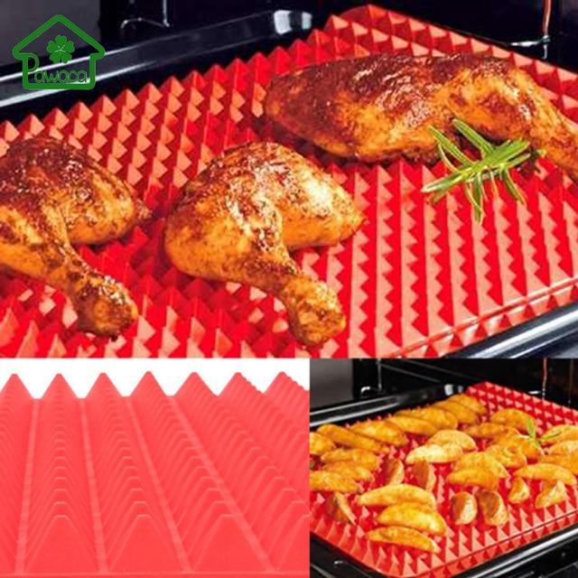 2017 rot pyramide nonstick backformen pan silikon grill matte pads kochmatte ofen backblech blatt kuche werkzeuge