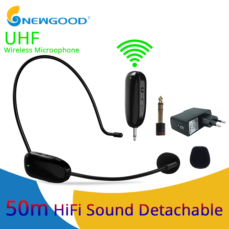 UHF Wireless Head Headset Microphone 2 In 1 Handheld Portable MIC Voice Changer Amplifier For Speech 3.5mm Plug Receiver