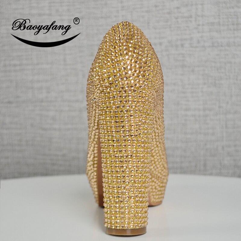 Champagne Hauts Talon Femme ab En 13 De forme Mariage Épais Parti Cristal Cm Champagne À Plate Chaussures Baoyafang Dames Nouveau Super Talons 80wTO4xq