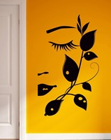 Wall Stickers Girl Flower Girl Teen Woman Female Face Eyes for Bedroom