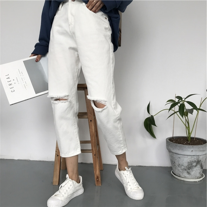 18 Summer Style Black White Hole Ripped Jeans Women Straight Denim High Waist Pants Capris Female Casual Loose Jeans 8
