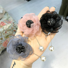 Korea New Handmade Modern Yarn Flower Rhinestone Brooches Pins Badges Fashion Jewelry For Woman Accessories-YHGWBH018F