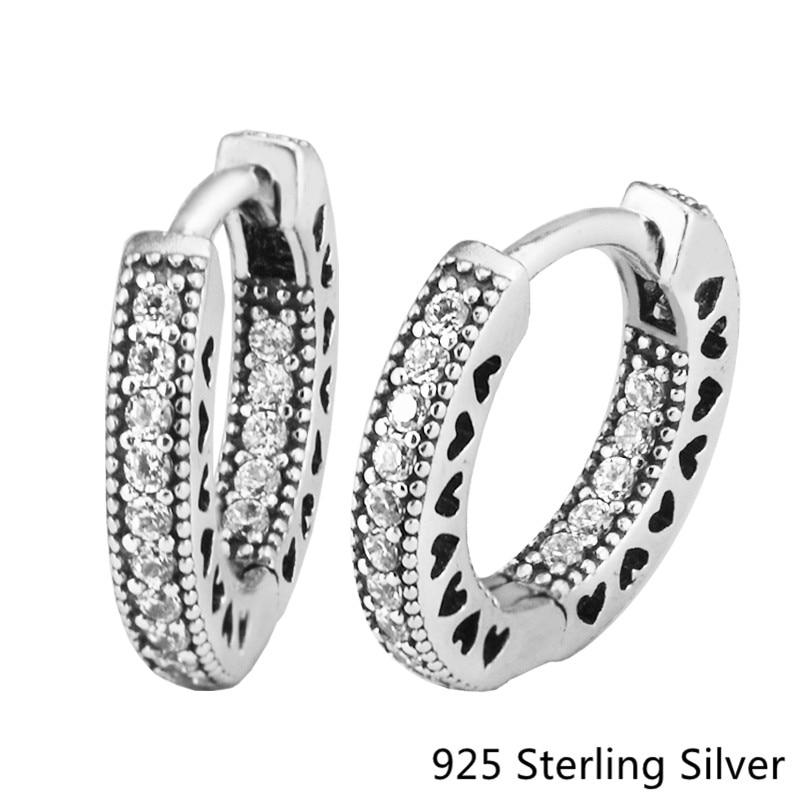 Pandulaso Openworking Liefde Hart Hoop Earrings 925 Sterling Silver Jewelry Anniversay Gift Spring Earring for Women Make Up