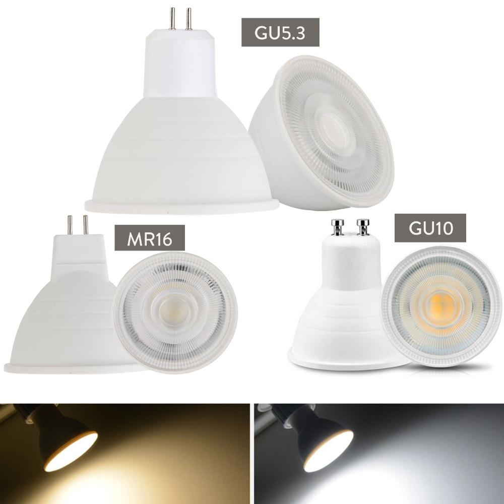 Светодиодный точечный светильник с регулируемой яркостью GU10, 7 Вт, 220 В, MR16 GU5.3, светодиодный светильник COB с чипом, угловой Точечный светильни...