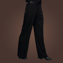 Stylish Latin Dance Linen Pants Black Slims Trousers Mans Professional Rumba Tango Practice Perfomance Apparel tl881