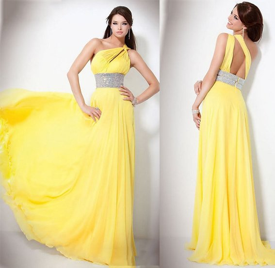 Discount New 2014  Fashion Yellow Unique design Prom dresses Chiffon Sheath One-shoulder Pleated With Crystal Beaded HOT SALE