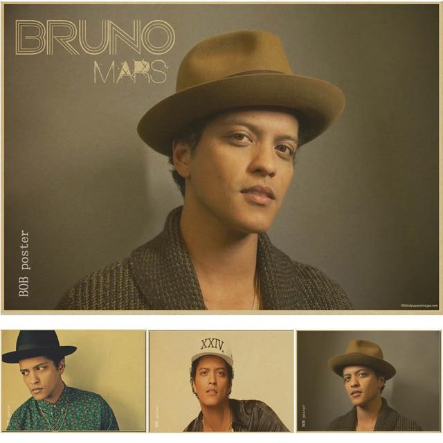 Bruno Mars Poster Retro Kraft Brown Wallpaper Vintage Poster Home